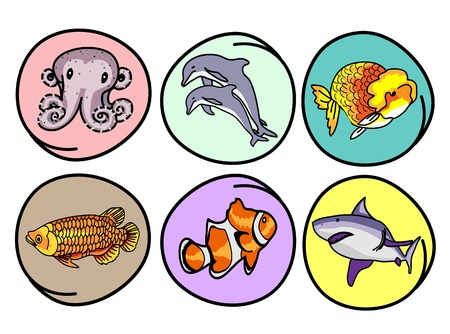 Cartoon Illustration of A Collection of Aquatic Animal Icon, Dolphin, Shark, Octopus, Goldfish, Arowana and Clownfish in Circle Frame Vector
