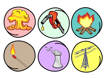 Cartoon Illustration of The Different Types of Energy, Heat, Electricity, Gasoline and Nuclear Power in Circle Frame Vector