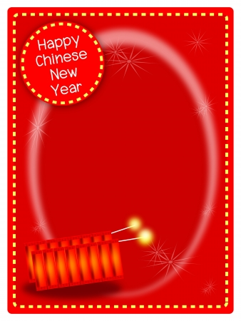 A Beautiful Firecrackers with Sparking Light Stars on Red Envelope Background, Signal for Chinese New Year Celebration Stock Vector - 17725969