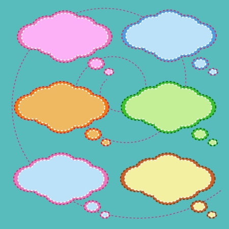 Colorful of Speech Bubbles Collection on Green Background, Ready to Accept Any Message Vector