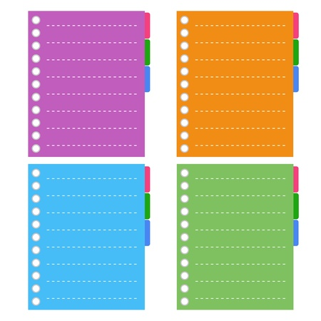 tabbed binder: A Sheet of Blank Lined on Orange, Purple, Blue and Green Spiral Paper with Tabbed Binder, Copy Space for Text Decorated