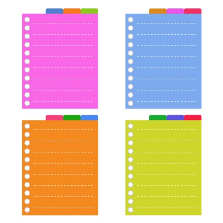 tabbed binder: A Sheet of Blank Lined on Orange, Pink, Blue and Yellow Spiral Paper with Tabbed Binder, Copy Space for Text Decorated  Illustration