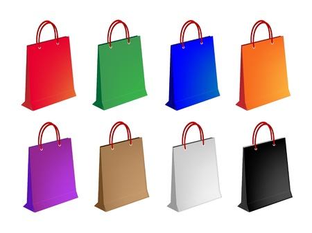 bolsa de regalo: Una colecci�n de ilustraciones de Colorsful Bolsa de compras de papel o bolsas de regalo en ocho colores surtidos, para transportar su mercanc�a Vectores