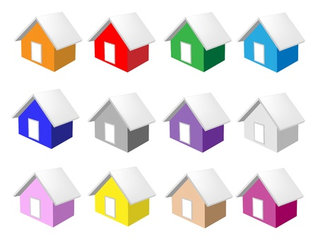 An Illustration Collection of Colorsful House Icon or Home Icon in Ten Assorted Colours Stock Vector - 17639413
