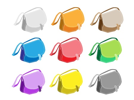 An Illustration Collection of Colorsful Purse or Fashionable Womens Handbag in Nine Assorted Colours Stock Vector - 17639425
