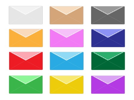 An Illustration Collection of Colorsful Close Envelope Icons in Twelve Assorted Colours Stock Vector - 17639450