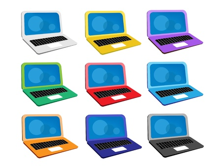 An Illustration Collection of Colorsful Computer Notebook Icon or Laptop Icon in Nine Assorted Colours Stock Vector - 17639417