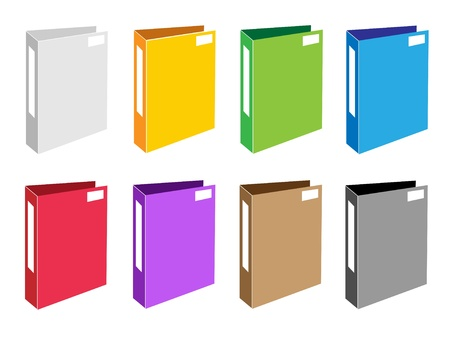 tabbed folder: Illustration Collection of Colorsful File Folder Icons or Office Foloder Icons for Backups and Storing of Data