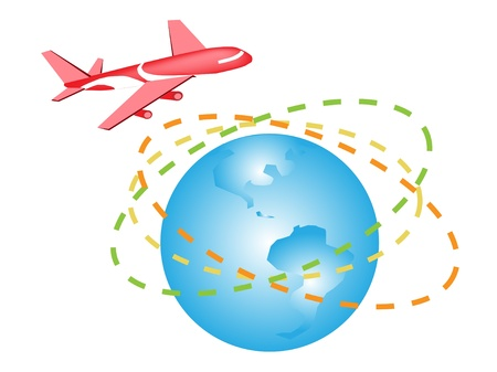 Global Transportation, Airplane Travel Around The Globe to International Destinations Stock Vector - 17639407