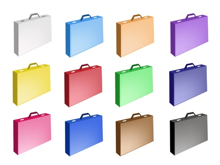 An Illustration Collection of Colorsful Briefcase Icons with Ten Assorted Colours Stock Vector - 17669533