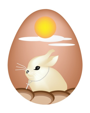 Little Easter Bunny Picture on Traditionally Painted Easter Egg Isolated White Backgrounds Vector