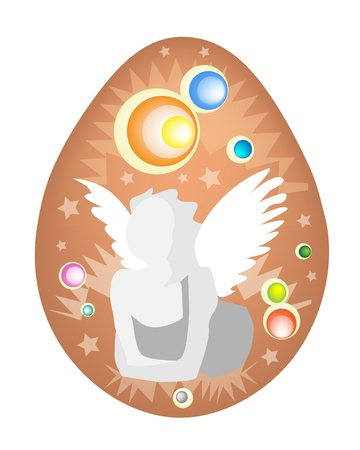 raw egg: A Beautiful Angel Painted on Traditionally Easter Egg Background Illustration