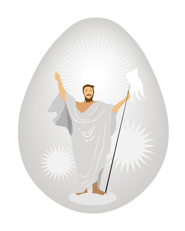 An Egg Covered with Jesus Christ Painted on Traditionally Easter Egg Background Stock Vector - 17669532