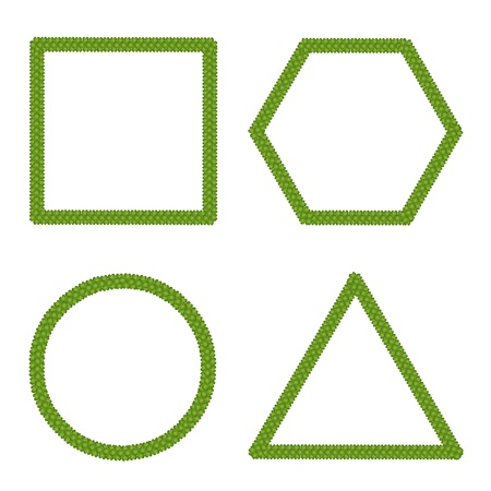 Vector   Ecology Concept of Fresh Green Four Leaf Clover Forming Square, Circle, Triangle and Hexagon Isolated on White Background Vector