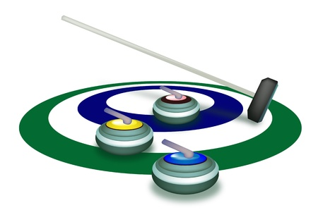 curling: Winter Sport   Hand Drawing of Curling Rocks and Broom in The Ice Rings, Green, White and Blue Colors in Curling Sport Isolated on White Background