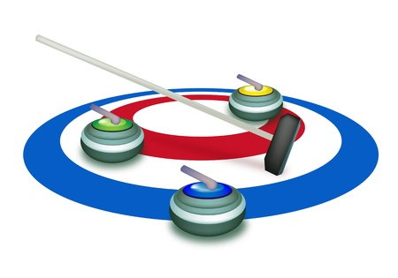 curling stone: Winter Sport   Hand Drawing of Curling Rocks and Broom in The Ice Rings, Blue White and Red Colors in Curling Sport Isolated on White Background