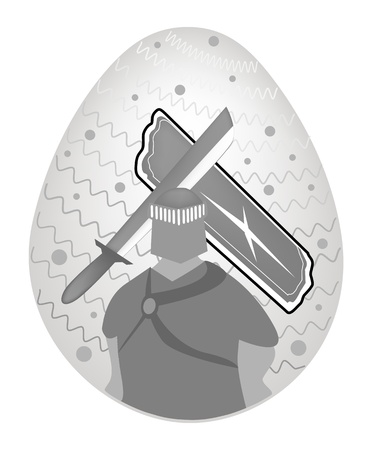 crusades: A Medieval Knight with Sword and Shield Painted on Traditionally Easter Egg Background