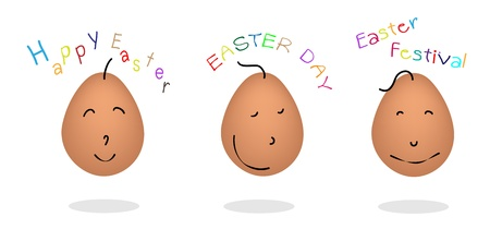 raw egg: An Illustration of Three Different Emotions Set of Easter Egg on A White Background
