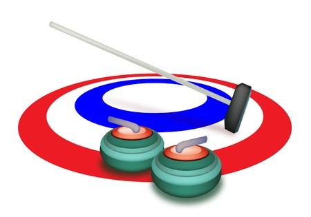Dessin � la main Sport d'hiver de pierres de curling Balai et dans les anneaux de glace, les couleurs vert, blanc et bleu dans le sport de curling isol� sur fond blanc
