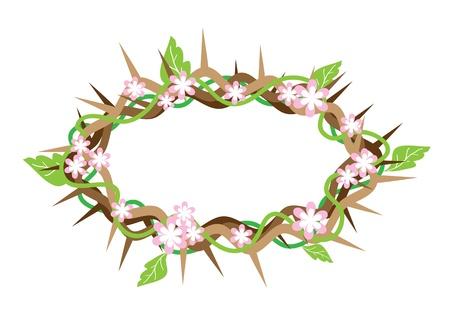 Cier: Ilustracja Korona cierniowa ze świeżych zielonych liści i różowy kwiat z Ziemi Świętej, symbolizujące zmartwychwstanie Jezusa