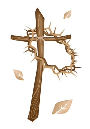 doornenkroon: Een illustratie bruine kleuren van een kroon van doornen Opknoping op een houten kruis, het symbool van de opstanding van Jezus Stock Illustratie