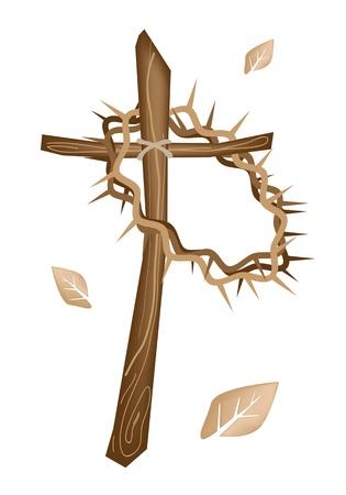 simbolos religiosos: Una Colores Marr�n Ilustraci�n de una corona de espinas colgando de una cruz de madera, s�mbolo de la Resurrecci�n de Jes�s