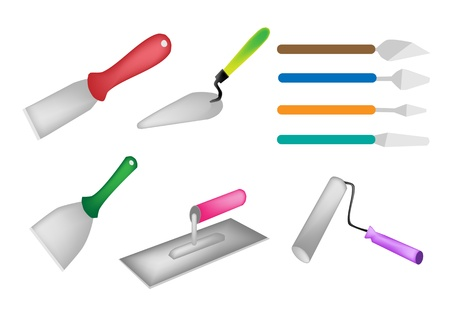 Builders Tools, An Illustration Collection of Hand Tools for Construction, Trowel, Putty Knife, Paint Scraper and Paint Roller