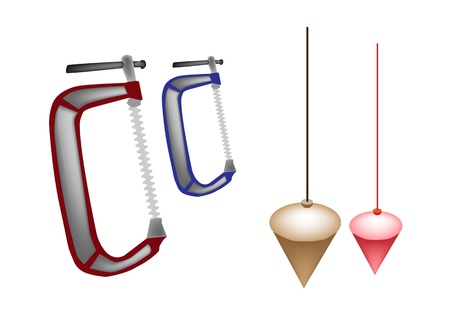 An Illustration Collection of Hand Tools for Construction, Plumb Bobs And Line with Clamps
