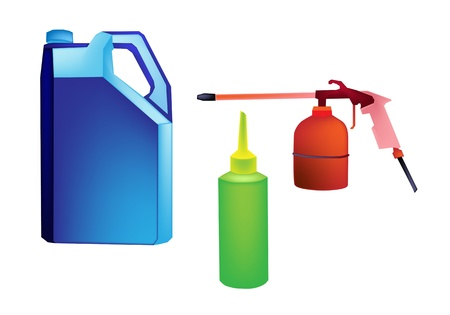 motor oil: An Illustration of Various Size of Engine Oil or Motor Oil Packaging in Oil Can, Big Bottle and Small Bottle for An Engineering Workshop