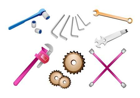 An Illustration Collection of Various Type of Auto Service and Repair Tools Kits Icons, Spanner, Gears, Pipe Wrench, Hex Keys, Socket Wrench and Lug Wrench Isolated on White Backgrounds Vector