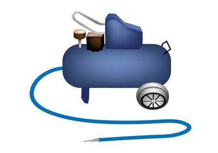 An Illustration of Blue Mobile Air Compressor Pressure Pump Tool for Auto Repair Shop