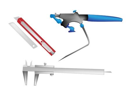 aerografo: Ilustraci�n de una pintura con aer�grafo azul, un cuchillo rojo y un calibrador Vernier plata aislado en el fondo blanco Vectores