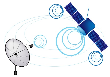 Illustration of Satellite and Satellite Dish for Communication and Media Industry, Symbolizing Global Communications Stock Vector - 17788323