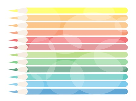 Modern Lovely Background of Twelve Colored Pencils for Text Decorated Stock Vector - 17849865