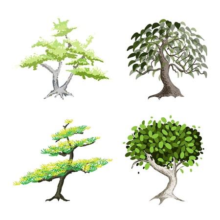 Een illustratie Verzameling van Landscaping Tree Symbolen of isometrische Bomen en Planten, verscheidenheid aan planten, Evergreens en Bomen voor tuin decoratie Vector Illustratie