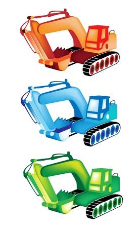 hydraulic platform: M�quina de la construcci�n pesada, una colecci�n de ilustraciones de naranja, azul y verde excavadora o bulldozer sobre fondo blanco Vectores