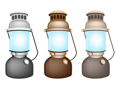 kerosene: An Illustration Collection of Grey, Brown And Light Brown Vintage Kerosene Lantern on White Background