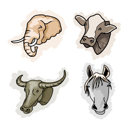 cow head: Cartoon Illustration of A Collection of Benefit Animal Icon, Elephant, Cow, Buffalo and Horse