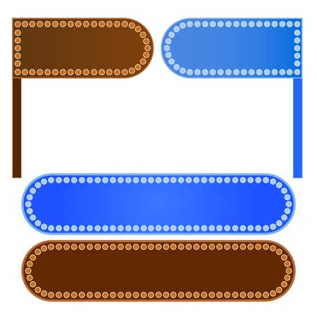 An Illustration Collection of Signboards and Sticker label in Blue and Brown Colors with Copy Space for Text Decorated Stock Vector - 17889337