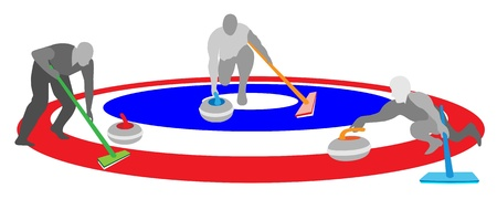 Winter Sport Athletes Playing Curling Sport by Curling Rocks and Broom in The Ice Rings, Blue White and Red Colors Isolated on White Background