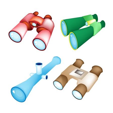 Optical instruments, Red, Green, Blue, and Brown Color of Binoculars Isolated on White Background Stock Vector - 17935084