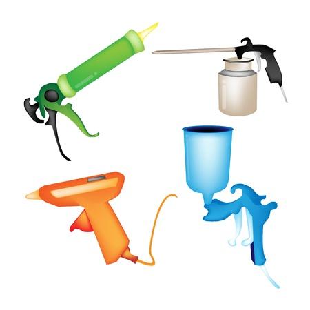 glue: Illustration Sammlung von Hot Glue Gun, Kartuschenpistole, Airbrush Malerei und Oil Can auf wei�em Hintergrund Illustration