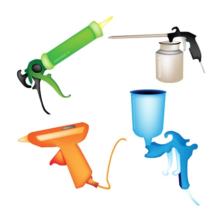Illustration Collection of Hot Glue Gun, Caulking Gun, Airbrush Painting and Oil Can Isolated on White Background Vettoriali