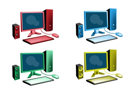An Illustration Collection of Colorsful Desktop Computer Icon or Desktop PC Icon in Red, Blue, Green and Yellow Colours Stock Vector - 18008635