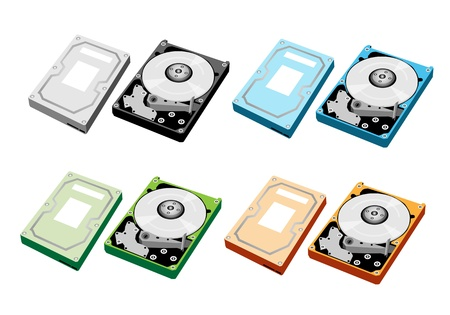 An Illustration Collection of Colorsful Computer Hard Disk Drive in Silver, Blue, Green and Yellow Colours Stock Vector - 18008637