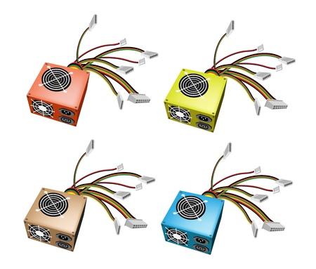 オレンジ、緑、茶色および青の色で Colorsful コンピューター電源ボックスのイラスト コレクション