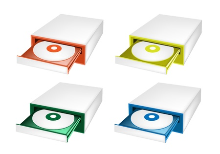 mass storage: An Illustration Collection of Colorsful CD-ROM Disk Drive for Desktop PC in Orange, Yellow, Green and Blue Colours Illustration