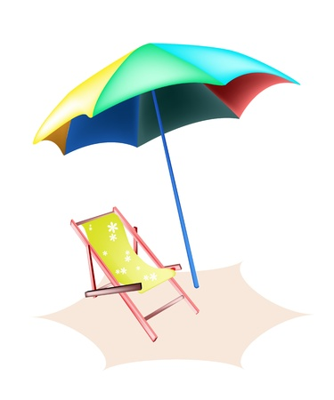 deck chair: An Illustration of Traditional Yellow Deck Chair and Colorful Umbrella on The Beach