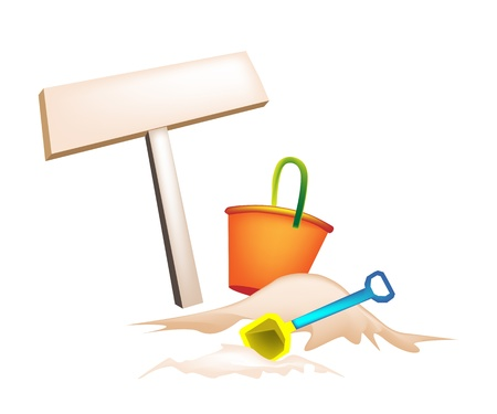 An Illustration of Wooden Sign Board  awith Beach bucket and Spade on The Beach Vector