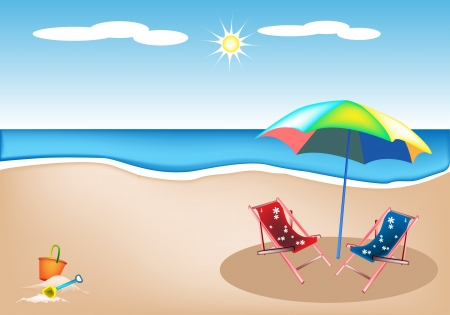 An Illustration of Two Traditional Deck Chair and Colorful Umbrella with Beach Bucket and Spade on A Beautiful Summer Beach Vector